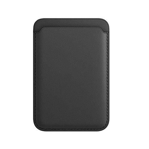 Porte-cartes en cuir pour iPhone 12 Mini/Pro/Max avec aimant Mag-Safe et design RFID, ultra fin et portable (Noir)