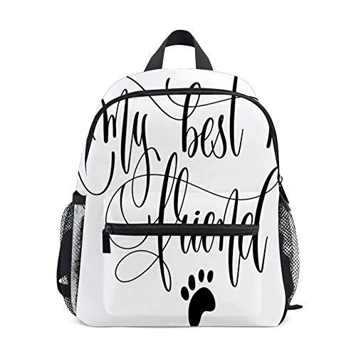 Kids Backpacks School Book Bag,My Best Friend Positive Cursive Lettering Paw Symbol Plain Background