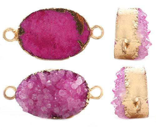 1pc de la Rosa de Cristal Natural de Druzy de Hielo de Cuarzo Ágata piedra PRECIOSA Piedra Chapado en Oro Ovalada Conector Colgantes de Metal Resultados