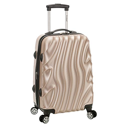Rockland Melbourne Hardside Expandable Spinner Wheel Luggage, Gold Wave, Carry-On 20-Inch