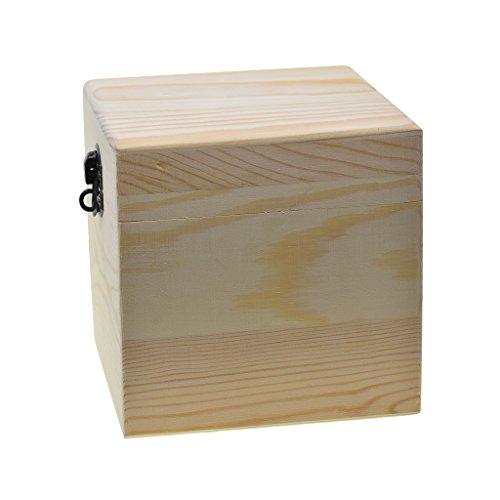 Bonarty Caja de Almacenamiento de Madera Sin Pintar Caja de Madera Cuadrada Grande Joyero Regalo de Boda Maquillaje Cosmético Escritorio Rangement Maquillaje