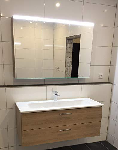 Burgbad BadMöbelset 123cm Dekor Cashmere mit Keramikwaschbecken und Spiegelschrank