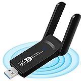 WiFi Adattatore 1200Mbps,adattatore WiFi USB Wireless Dual Band 5Ghz / 2.4Ghz WiFi Antenna USB 3.0 AC wireless WiFi Dongle per PC Laptop Supporto Win XP/7/8/10/Vista, Mac 10.6-10.15, Linux