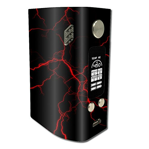 Skin Decal Vinyl Wrap for Wismec Reuleaux RX300 Vape Mod stickers skins cover / Red Lightning Bolts Electric