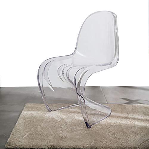 ZXWNB Sedia Laterale Trasparente, Sedia A Forma di Sedia da Pranzo Sedia da Bar Moderna per Interni Moderna Creativa per Bar caffè Soggiorno C 49X85 Cm,Solid White,A