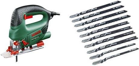 Bosch PST 800 PEL - Sierra de calar de carrera pendular + 2607010629 Pro Line - Juego de hojas de sierra de calar (10 unidades, para madera)