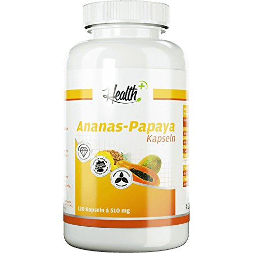 HEALTH+ ANANAS-PAPAYA-ENZYME | Proteinspaltende Enzyme | Bromelain | Papain | 120 Kapseln | Made in Germany