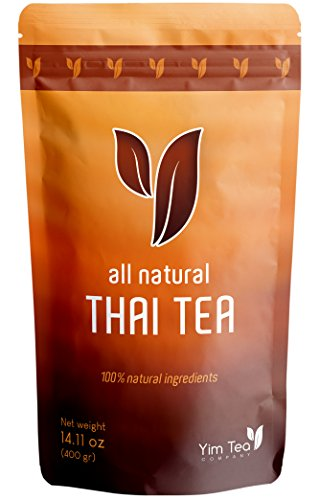 Thai Tea - 100% Natural Loose Leaf Tea Mix - Made with Assam Black Tea - Makes Iced Tea and Boba Tea - By Yim Tea Co. (400g)