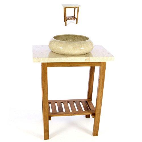 Divero HF55778_SL Waschtisch Teak Holz mit Platte und Waschbecken Marmor creme Badmöbel