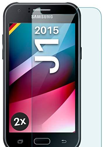 moex Panzerglas kompatibel mit Samsung Galaxy J1 (2015) - Schutzfolie aus Glas, bruchsichere Bildschirmschutz Folie, Crystal Clear Panzerglasfolie, 2X Stück