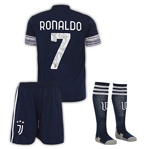 Juventus Ronaldo Trikot Set #7 Auswärts 2018/19 Kinder Fussball Trikot Mit Shorts und Socken Kinder (11-12 Jahre)