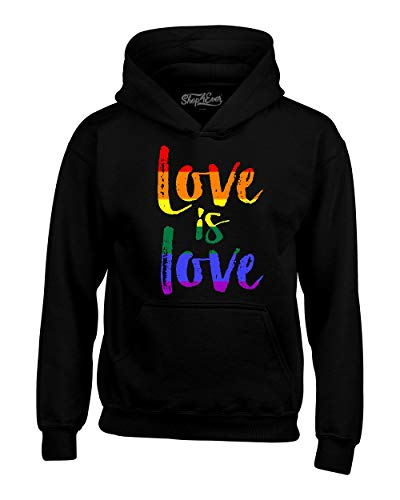 shop4ever Love is Love Gay Pride Hoodie Sweatshirts Large Black 0