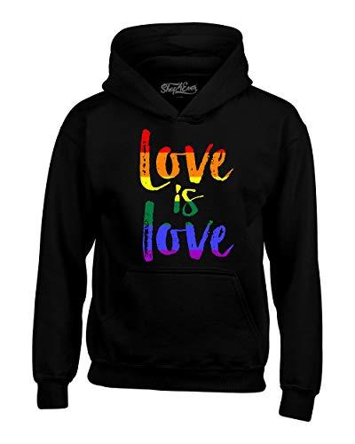 shop4ever Love is Love Gay Pride Hoodie Sweatshirts Medium Black 0
