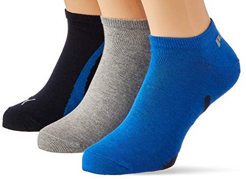 PUMA Lifestyle Sneaker-Trainer Socks (3 Pack) Calcetines, Navy/Grey/Strong Blue, 35/38 Unisex Adulto