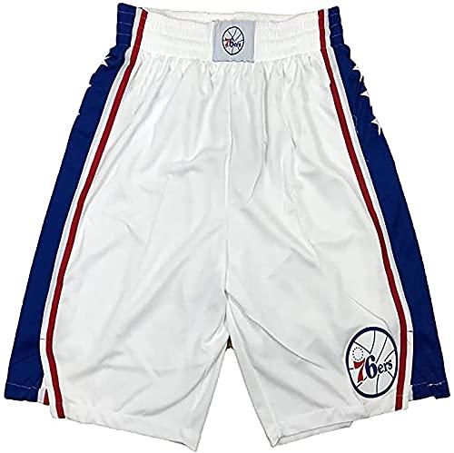 Männer Basketball Trainingshorts geeignet für 76er Wettbewerb Basketball Shorts Mesh atmungsaktives Stoff Schnelltrocknen mit Taschen und Kordelzug(L,weiß)