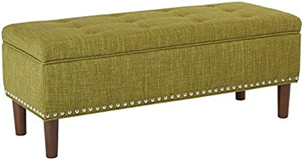 AVE SIX Bryant Mid Century Modern Vinyl Bench With Nailhead Accents Green