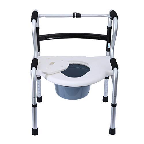 Silla De Baño Giratoria para Ancianos Ortopedica Discapacitados Silla WC Plegable 3 En 1 Regulable En Altura con Tapa Silla De Ducha Y De WC MóVil para Personas Mayores