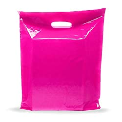 """powerful Pink shopping bag – 100 pieces 9 """"x 12"""", 1.5 mils thick 