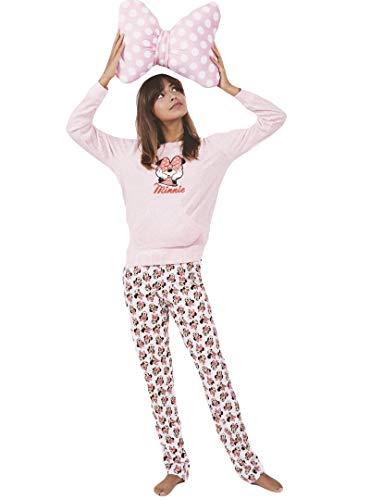 Disney Pijama Manga Larga Velour Minnie Bow para Mujer,