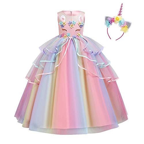 IDOPIP Disfraz de Unicornio Niñas Chicas Vestido Unicornio Princesa Traje de Carnaval Cumpleaños Comunión Cosplay Costume con Diadema Rosa A 9-10Años