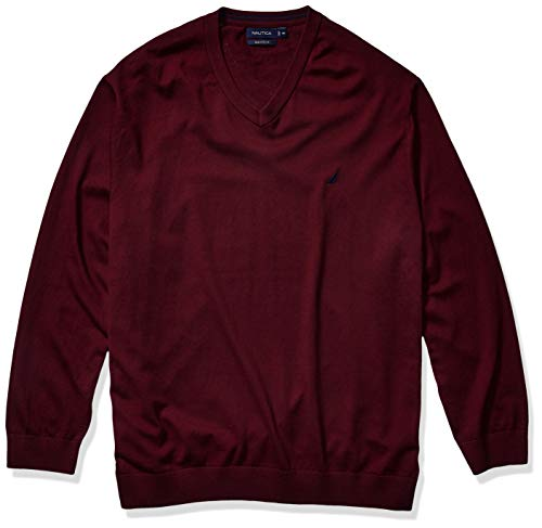 Nautica Men's Big Navtech Jersey V-Neck Sweater, Royal Burgundy, 3XLT Tall