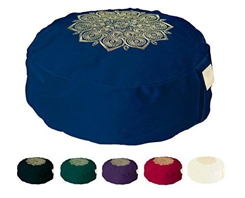 Om Vita - Cuscino da yoga o meditazione Zafu con imbottitura in 100% grano saraceno biologico e decorazione mandala realizzata a mano, Navy Stitched