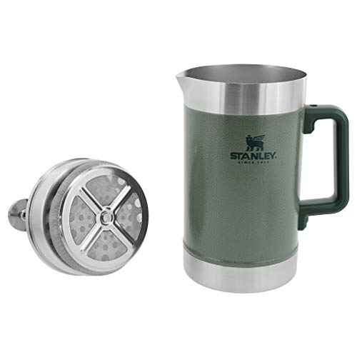 Stanley 10-02888-007 French Press 48oz with Double Vacuum Insulation, Stainless Steel Wide Mouth Coffee Press, Large Capacity, Ergonomic Handle, Dishwasher Safe, Lifetime Warranty Hammertone Green