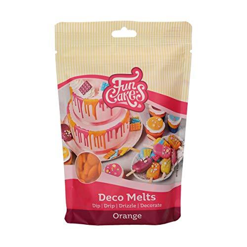 FunCakes Deco Melts orange - tauchen, drippen, dippen und dekorieren! In der Mikrowelle schmelzen und in jede Form gießen, 250 g