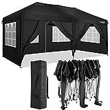 Cobizi Tonnelle 3x6m Tente Pliante imperméable Tonnelle de Jardin Gazebo Pliable Pavillon de Jardin Tente de Reception avec 6 Côtés(3 x 6 M, Noir)