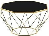 WSVULLD Mesa de café Octagonal de Mediados de Siglo con Acabados de Vidrio Templado Negro y Acabados de Oro, 46 × 56 cm (Color : 56×40cm)
