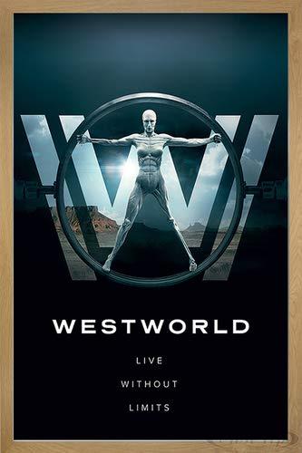 Close Up Westworld Poster Live Without Limits (66x96,5 cm) gerahmt in: Rahmen Eiche