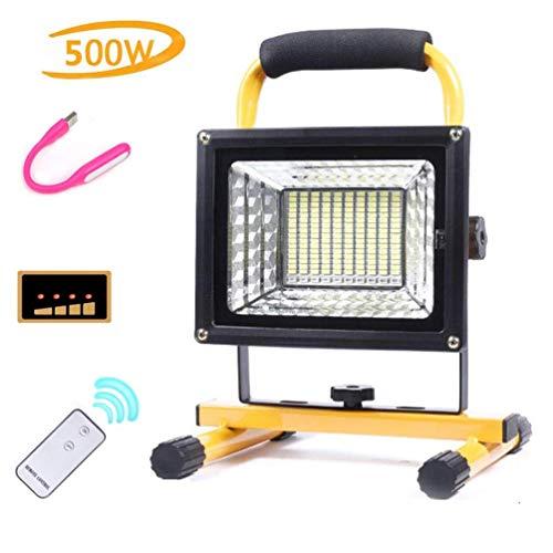 Gpzj Lampe de Travail à LED de Camping 500W 8000 lumens, projecteur de Garage avec télécommande, Chargement USB, Batteries Li-ION intégrées 8000Mah, lumières de sécurité de pêche de Camp