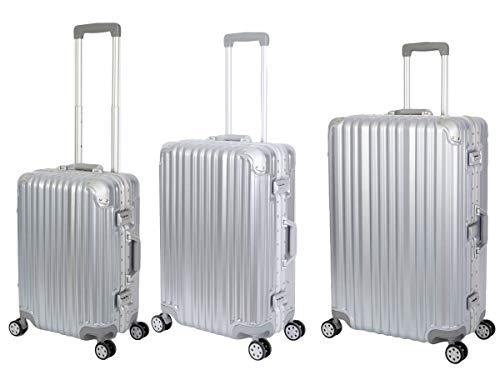 Travelhouse London Koffer Silber S-55cm, M-65cm, L-77cm · 3er-Set · Alu Rahmen · Polykarbonat Hartschale · Reisegepäck Reisetrolley Trolley Reisekoffer ·...