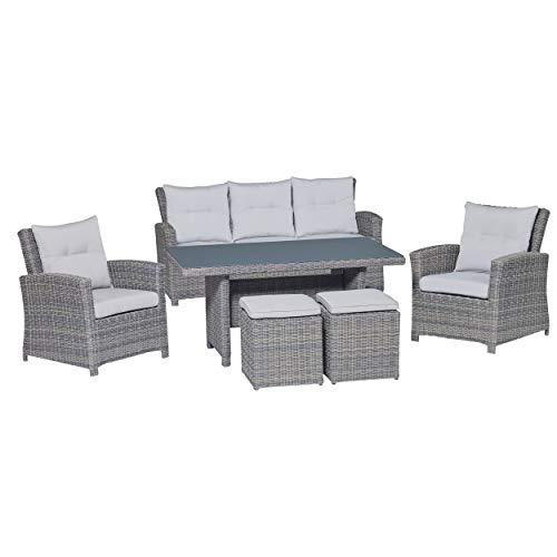 Lounge-Set mit Esstisch Vermont 6-teilig aus Polyrattan Wave Cliff