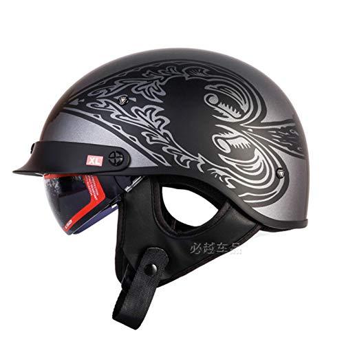 ABDOMINAL WHEEL Medio Casco de Moto,Cascos de Motocicleta con Visera Solar Incorporada Y Visera Solar Extraíble,Certificación ECE Ciclomotor Cascos C,L=55~57cm