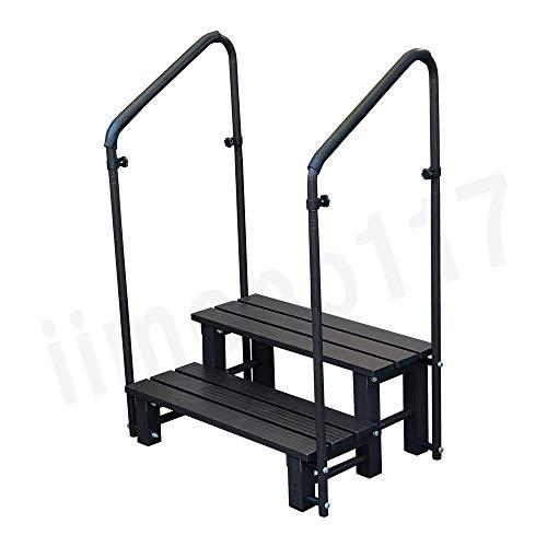 iimono117 手すり付き踏み台 アルミ製 玄関台 踏み台 ステップ台 [ 1段 2段 ] / 手すり 玄関 アルミ昇降 玄関ステップ 昇降補助 段差解消 転倒防止 (2段/両手)