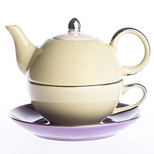 Artvigor, Tea for One Teapot And Cup Servizio da tè in Porcellana Teiera Set con Tazza e Piattino Teiere Caffettiere Ceramica 3 Pezzi per 1 Persona Beige&Viola