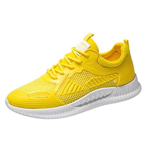 Leichte Laufschuhe für Herren/Skxinn Unisex Fitness Turnschuhe Atmungsaktiv rutschfeste Mode Sneaker Sportschuhe Outdoor Wanderschuhe Sneaker für Herren Damen Ausverkauf(Z1-Gelb,39 EU)