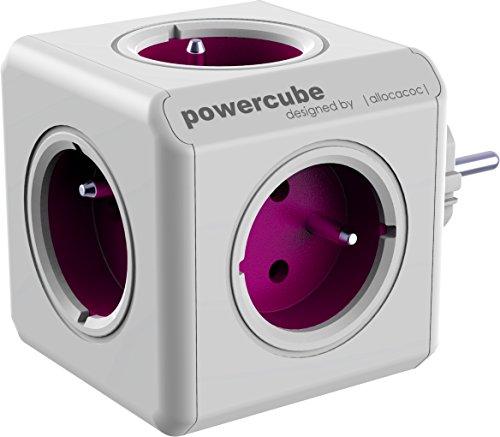 allocacoc PowerCube ReWirable Travel Plugs - Ladrón múltiple de viaje con adaptadores internacionales, 5 enchufes 230 V FR en forma de cubo (blanco y violeta)