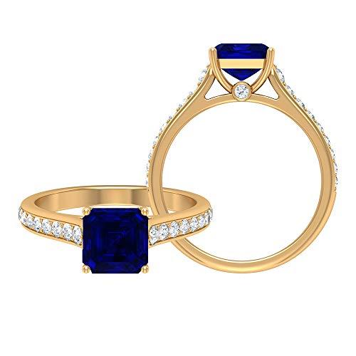 Anillo de compromiso solitario de 4,50 CT para mujer con zafiro azul creado en laboratorio y detalles de moissanita (7 mm, corte Asscher, 14K Oro amarillo, Size:EU 44
