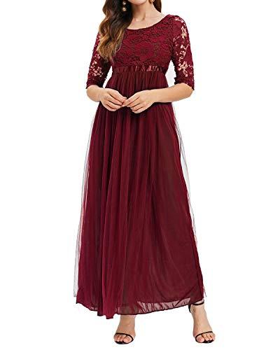 Auxo Damen Spitze Chiffon Kleid Lang Maxi Abendkleid Festlich Lace Elegant Ballkleid 02-Weinrot M