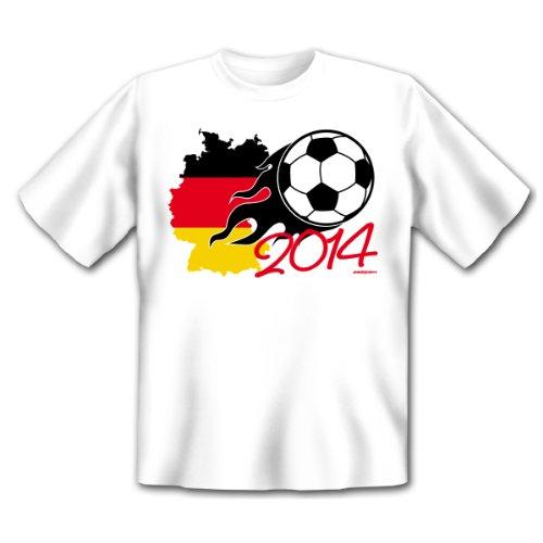 Deutschland Fußball Fan T-Shirt zur Weltmeisterschaft! Ball in Flammen - Fussball 2016 - Fan Shirt, Trikot Gr. M Fb: weiss