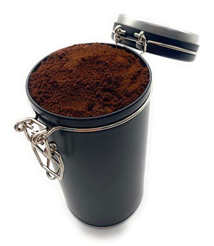 Perfekto24 Aufbewahrung Kaffee 250g - Kaffeedose mit Bügelverschluss hält Kaffeebohnen/Pulver länger frisch - Vorratsdose mit Aromaverschluss (Luftdicht) - Kaffeebehälter schwarz