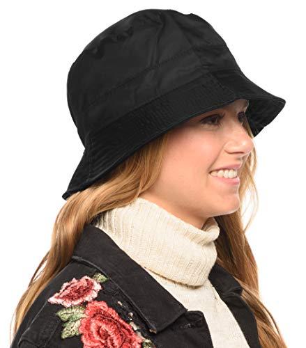 Adjustable Waterproof Bucket Rain Hat in Nylon, Easy to fold (Black)