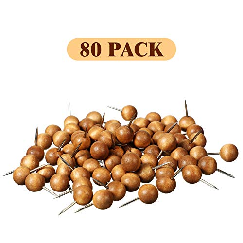 80 Pieces Wood Push Pins Round Head Wooden Pushpins Wooden Thumb Tacks with Steel Needle Point Decorative Wooden Push Pins for Map Photos Documents Bulletin Boards Cork Boards Foam Boards, Brown Photo #3