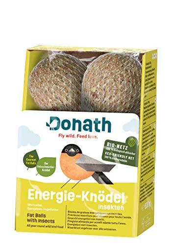 Donath Energie-Knödel Insekten, im BIO-Netz - 6 Meisenknödel im BIO-Netz (6 x 100g) - der Feinschmecker-Knödel - wertvolles Ganzjahres Wildvogelfutter - aus unserer Manufaktur in Süddeutschland