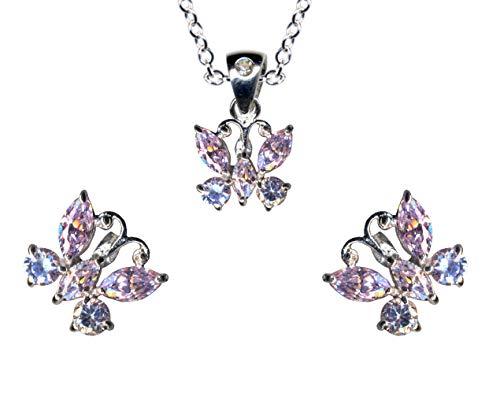 Juego de joyas de plata de ley 925 con diseño de mariposa, lavanda y lila, pendientes de plata de ley 925 + cadena + colgante de collar + colgante de cadena de plata colgante de plata colgante