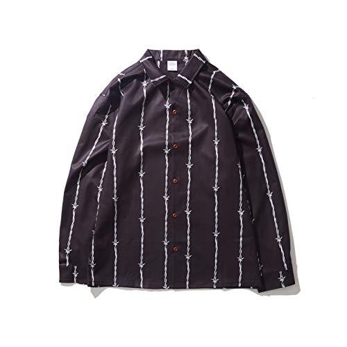 Camisa de Manga Larga a la Moda para Hombre Trend All-Match Solapa Stripe Cómodo Casual Regular Fit Camisas Primavera y otoño S