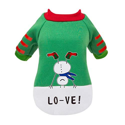 BaojunHT Weihnachten Haustier Kostüm Welpe Hund Schneemann Liebe Pullover Kätzchen Katze Winter Warm Sweatshirt Kleidung (Grün,L)