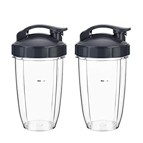 Tall Cups Replacement 24 oz 2 Packs for Original NutriBullet Pro 900w 600w Juicer Extractor NB-101B NB-101S NB-201, Blender Blade Replacement Smoothie Cups with Flip Top To Go Lids BPA Free Pitcher